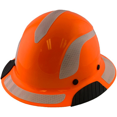 DAX Fiberglass Composite Hard Hat - Full Brim High-Viz Orange with Reflective White Decal Kit Applied