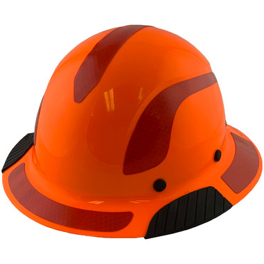 DAX Fiberglass Composite Hard Hat - Full Brim High-Viz Orange with Reflective Red Decal Kit Applied
