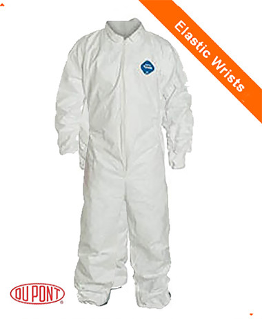DuPont TYVEK Nonwoven Fiber Coverall with Elastic Wrists and Ankles  SINGLE SUIT - Size Large ~  Front View