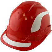 Pyramex Ridgeline Cap Style Hard Hats Red with White Reflective Decals Applied