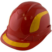 Pyramex Ridgeline Cap Style Hard Hats Red with Yellow Reflective Decals Applied