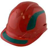 Pyramex Ridgeline Cap Style Hard Hats Red with Green Reflective Decals Applied