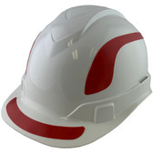 Pyramex Ridgeline Cap Style Hard Hats White with Red Reflective Decals Applied