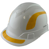 Pyramex Ridgeline Cap Style Hard Hats White with Yellow Reflective Decals Applied