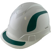 Pyramex Ridgeline Cap Style Hard Hats White with Green Reflective Decals Applied