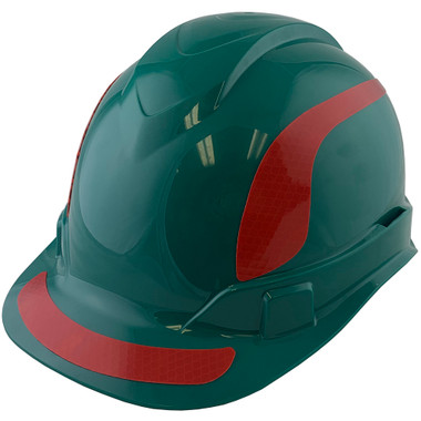 Pyramex Ridgeline Cap Style Hard Hats Green with Red Reflective Decals Applied