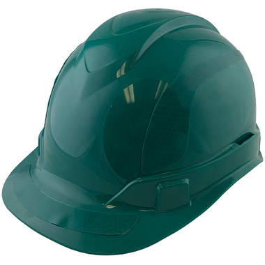 Pyramex Ridgeline Cap Style Hard Hats Green with Green Reflective Decals Applied