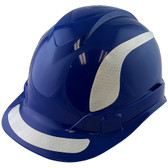 Pyramex Ridgeline Cap Style Hard Hats Blue with White Reflective Decals Applied