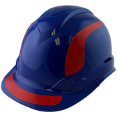 Pyramex Ridgeline Cap Style Hard Hats Blue with Red Reflective Decals Applied