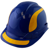 Pyramex Ridgeline Cap Style Hard Hats Blue with Yellow Reflective Decals Applied
