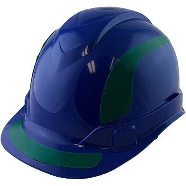 Pyramex Ridgeline Cap Style Hard Hats Blue with Green Reflective Decals Applied
