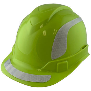 Pyramex Ridgeline Cap Style Hard Hats Lime with White Reflective Decals Applied