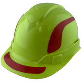 Pyramex Ridgeline Cap Style Hard Hats Lime with Red Reflective Decals Applied