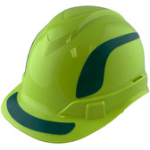 Pyramex Ridgeline Cap Style Hard Hats Lime with Green Reflective Decals Applied