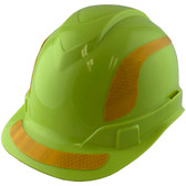 Pyramex Ridgeline Cap Style Hard Hats Lime with Yellow Reflective Decals Applied