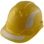 Pyramex Ridgeline Cap Style Hard Hats Yellow with White Reflective Decals Applied