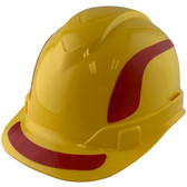 Pyramex Ridgeline Cap Style Hard Hats Yellow with Red Reflective Decals Applied
