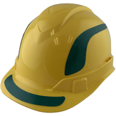 Pyramex Ridgeline Cap Style Hard Hats Yellow with Green Reflective Decals Applied