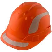 Pyramex Ridgeline Cap Style Hard Hats Orange with White Reflective Decals Applied