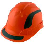 Pyramex Ridgeline Cap Style Hard Hats Orange with Green Reflective Decals Applied