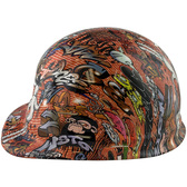 Orange Graffiti Design Cap Style Hydro Dipped Hard Hats ~  Left Side View