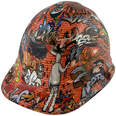 Orange Graffiti Design Cap Style Hydro Dipped Hard Hats ~  Oblique View