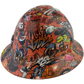 Orange Graffiti Full Brim Hydro Dipped Hard Hats