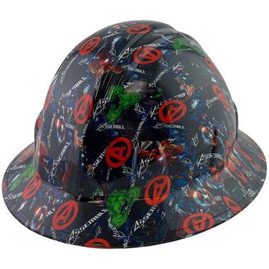 Avengers Design Full Brim Hydro Dipped Hard Hats