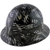 Skullgard Full Brim Fiberglass Hard Hat with Ratchet Suspension and Covert Flag Hydro Dip Design