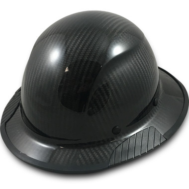 Actual Carbon Fiber Hard Hat - Full Brim Glossy Black with Protective Edge