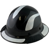 Actual Carbon Fiber Hard Hat - Full Brim Glossy Black with Reflective White Decal Kit Applied