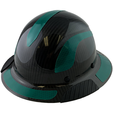 Actual Carbon Fiber Hard Hat - Full Brim Glossy Black with Reflective Green Decal Kit Applied