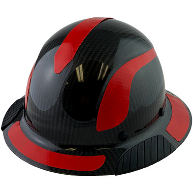 Actual Carbon Fiber Hard Hat - Full Brim Glossy Black with Reflective Red Decal Kit Applied