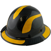 Actual Carbon Fiber Hard Hat - Full Brim Glossy Black with Reflective Yellow Decal Kit Applied