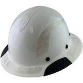 Actual Carbon Fiber Hard Hat - Full Brim White with Reflective White Decal Kit Applied