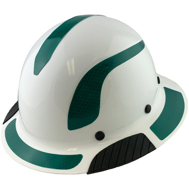 Actual Carbon Fiber Hard Hat - Full Brim White with Reflective Green Decal Kit Applied