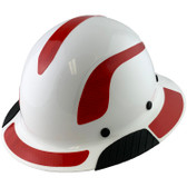 Actual Carbon Fiber Hard Hat - Full Brim White with Reflective Red Decal Kit Applied