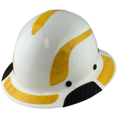 Actual Carbon Fiber Hard Hat - Full Brim White with Reflective Yellow Decal Kit Applied