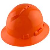 Pyramex Ridgeline Vented Hi-Viz Orange Full Brim Style Hard Hat - 4 Point Suspensions - Oblique View