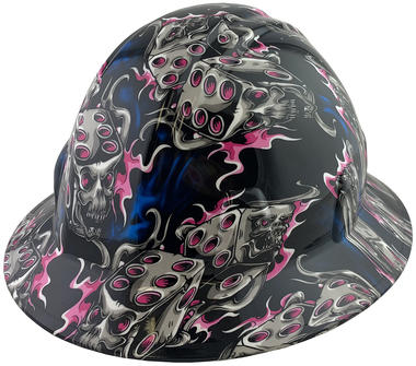 Flaming Dice Pink Design Full Brim Hydro Dipped Hard Hats