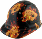 Flaming Aces Design Cap Style Hydro Dipped Hard Hats ~ Oblique View