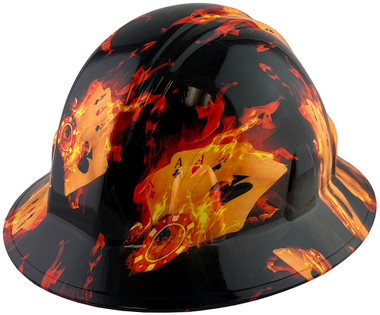 Flaming Aces Design Full Brim Hydro Dipped Hard Hats