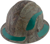 Pyramex Ridgeline Full Brim Style Hard Hat with Camouflage Pattern with Green Decals - Oblique View