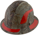Pyramex Ridgeline Full Brim Style Hard Hat with Camouflage Pattern with Red Decals - Oblique View