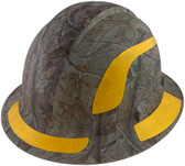 Pyramex Ridgeline Full Brim Style Hard Hat with Camouflage Pattern with Yellow Decals - Oblique View