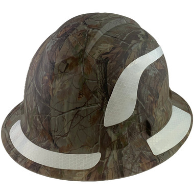Pyramex Ridgeline Full Brim Style Hard Hat with Camouflage Pattern with White Decals - Oblique View