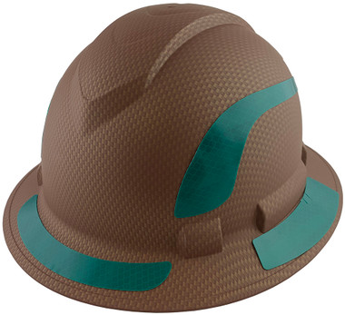 Pyramex Ridgeline Full Brim Style Hard Hat with Copper Pattern with Green Decals - Oblique View