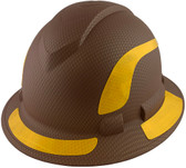 Pyramex Ridgeline Full Brim Style Hard Hat with Copper Pattern with Yellow Decals - Oblique View