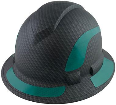 Pyramex Ridgeline Full Brim Style Hard Hat with Matte Black Graphite Pattern with Green Decals - Oblique View