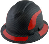 Pyramex Ridgeline Full Brim Style Hard Hat with Matte Black Graphite Pattern with Red Decals - Oblique View